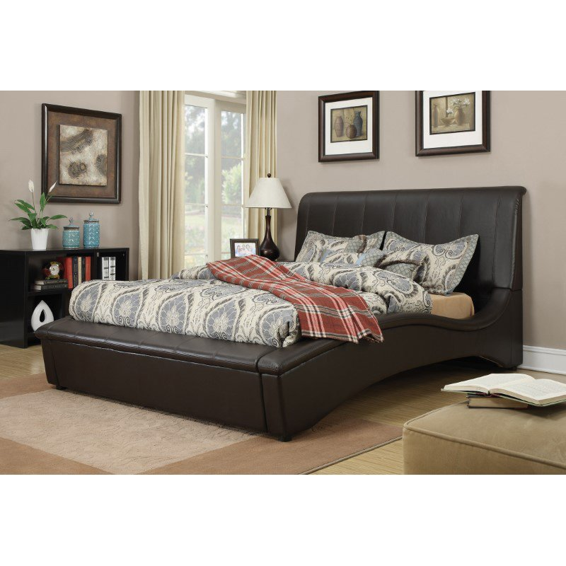 HomeRoots Furniture Queen Bed, Espresso PU, Wood & Plywood (285550)
