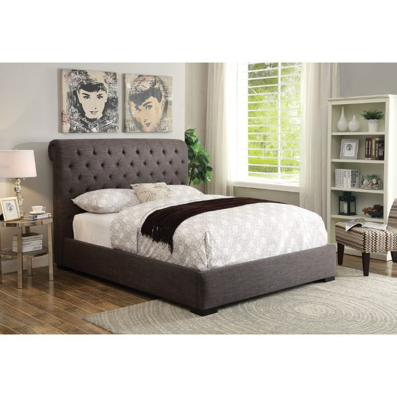 HomeRoots Furniture Queen Bed, - Fabric, Wood Frame (285265)