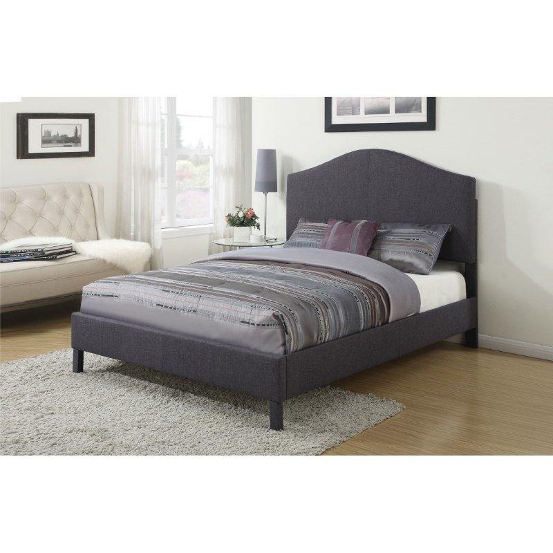 HomeRoots Furniture Queen Bed, Gray Linen - Linen Fabric, CA Foam (285250)
