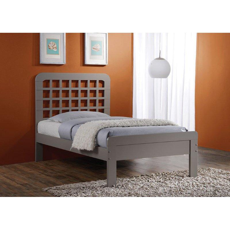 HomeRoots Furniture Queen Bed, Gray - Poplar Wood (285271)