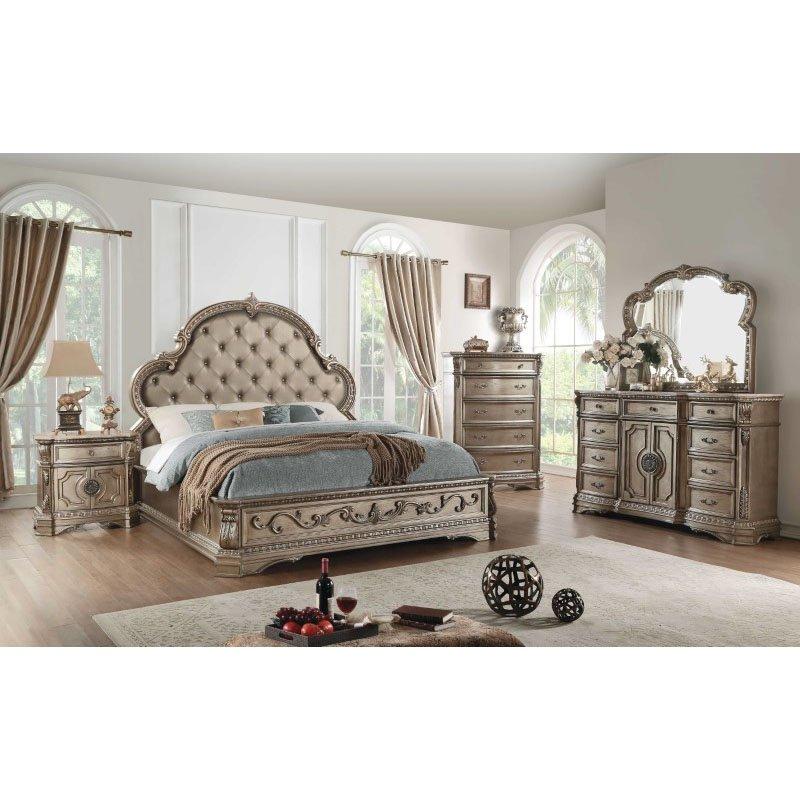 HomeRoots Furniture Queen Bed in Antique Champagne - PU, Poly Resin, Poplar, Oak Veneer, MDF (318740)