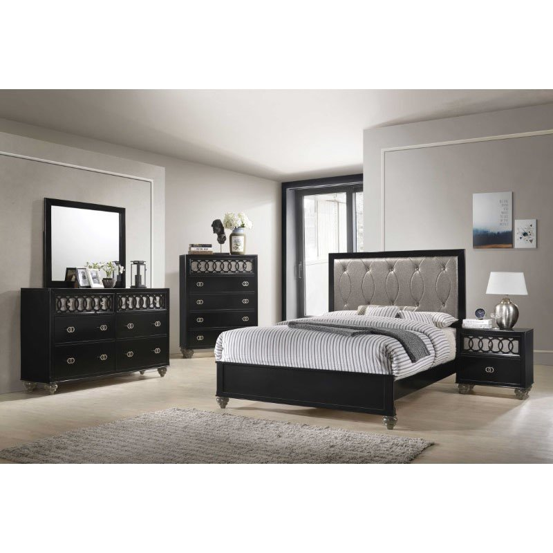 HomeRoots Furniture Queen Bed in Copper Leatherette and Black - PU, Rubberwood, Chipboard (318749)