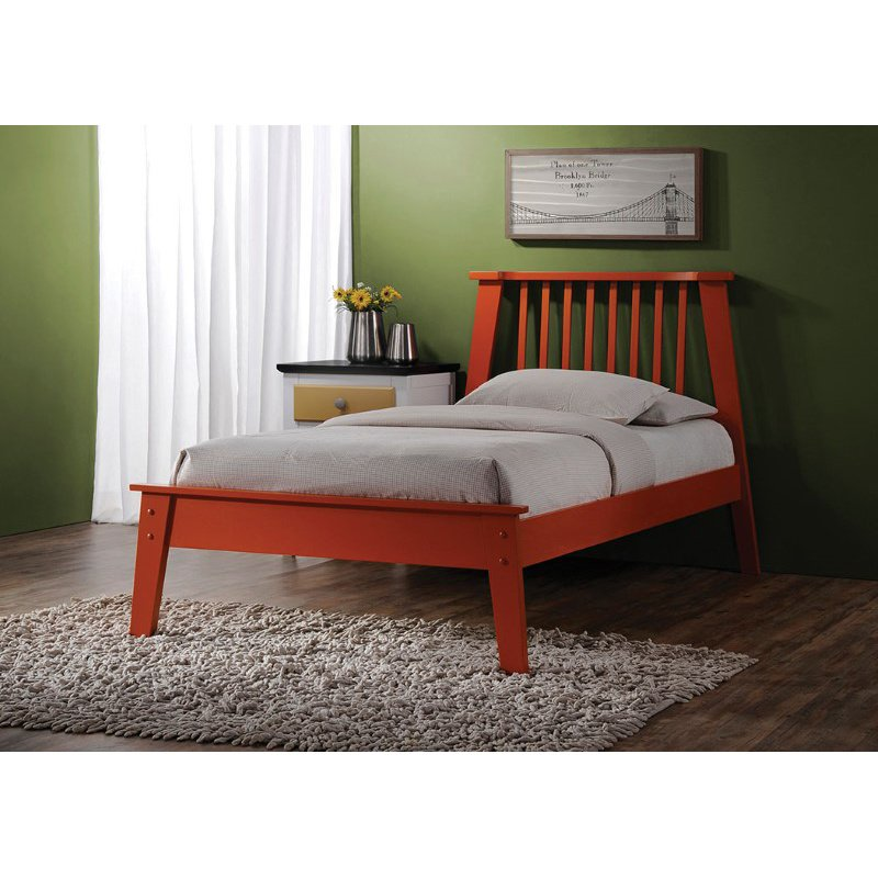 HomeRoots Furniture Queen Bed in Orange - Poplar Wood (285283)
