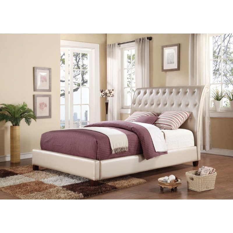 HomeRoots Furniture Queen Bed in Pearl PU, Pine & Plywood (285548)