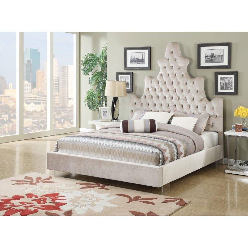 HomeRoots Furniture Queen Bed in Sand Plush - Plush Fabric, CA Foam (285564)