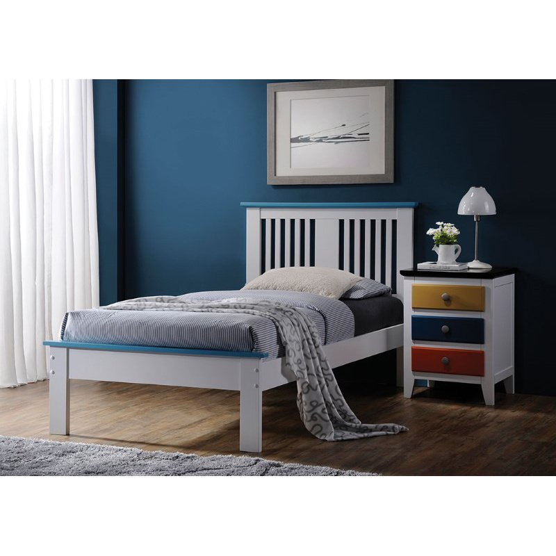 HomeRoots Furniture Queen Bed in White & Blue - Poplar Wood White & Blue (285299)