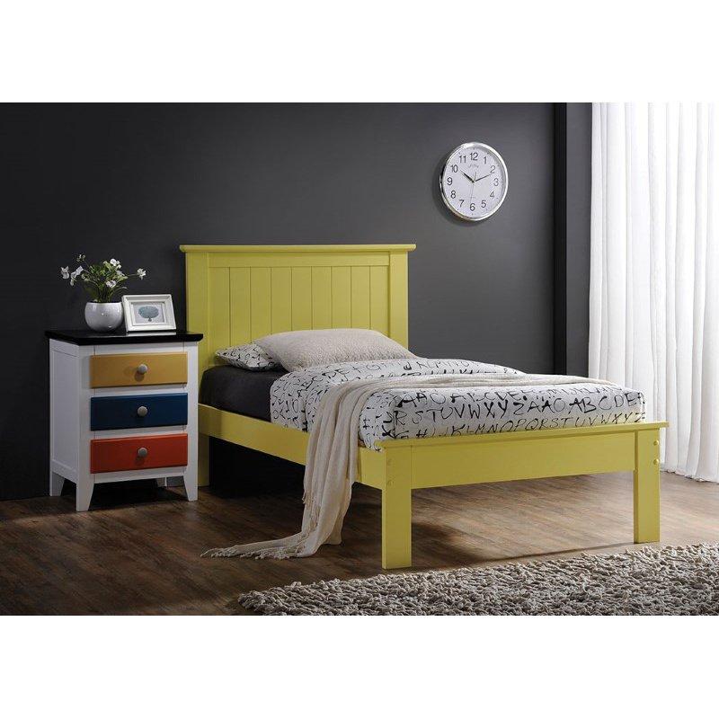 HomeRoots Furniture Queen Bed in Yellow - Poplar Wood Yellow (285286)
