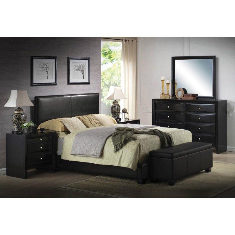 HomeRoots Furniture Queen Bed (Panel), Black PU, Rubber Wood (20%) (285216)