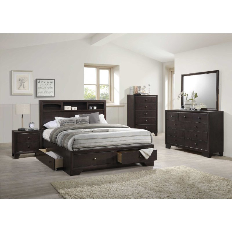 HomeRoots Furniture Queen Bed with Storage, Espresso - Rubber Wood (285860)