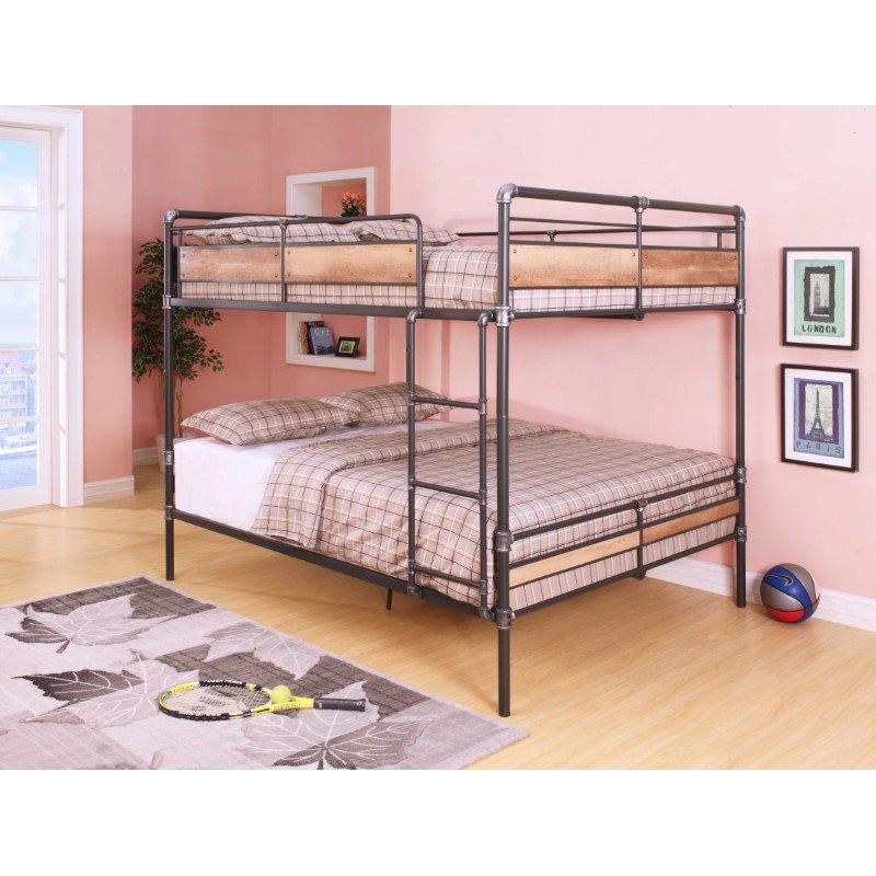 HomeRoots Furniture Queen/Queen Bunk Bed, Sandy Black & Silver - Metal, Wood (286145)