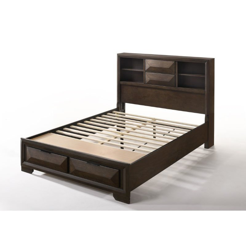 HomeRoots Furniture Queen Storage Bed in Espresso - Rubber Wood, Tropical Wood, Birch Betula Wood Veneer, MDF (318723)