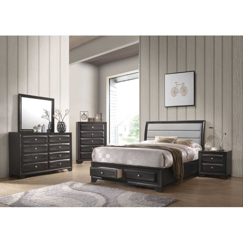 HomeRoots Furniture Queen Storage Bed in Light Gray Fabric and Antique Gray , Rubber Wood, Tropical Wood, MDF (318733)