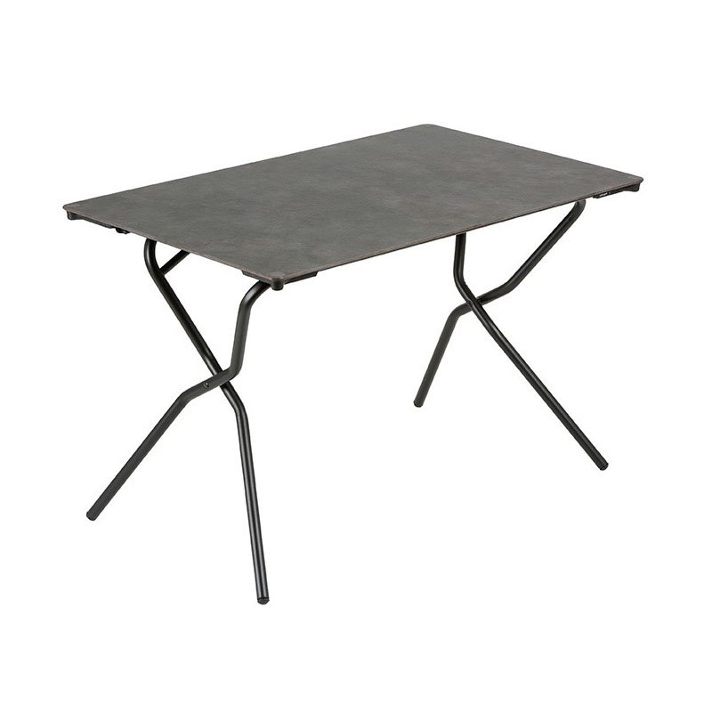 HomeRoots Furniture Rectangular Folding Table - 43.3 X 26.8 in - Black Steel Frame - Volcanic Finish Table Top (320647)