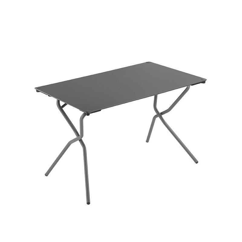 HomeRoots Furniture Rectangular Folding Table 43.4 X 26.8 in - Titane Steel Frame - Volcanic Finish Table Top (320579)
