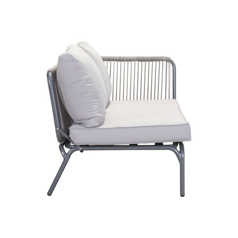 HomeRoots Furniture Right Facing Double Seat Gray - Sunproof Fabric, Synethetic Aluminum (296440)
