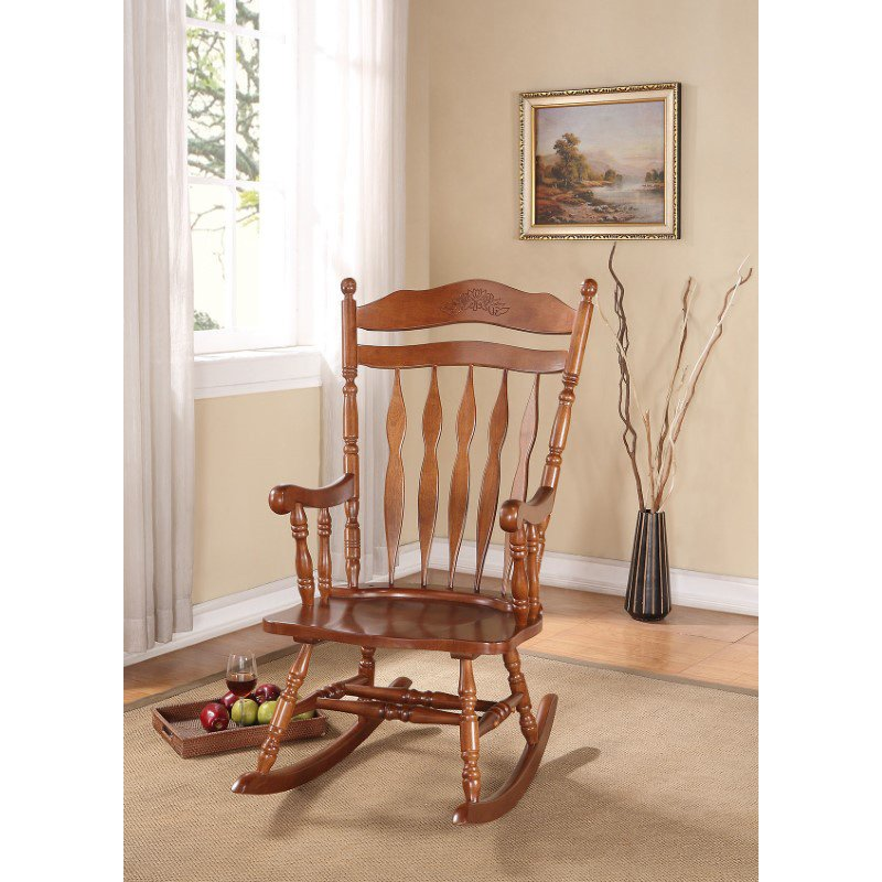 HomeRoots Furniture Rocking Chair, Dark Walnut - Rubber Wood (Solid) & Ply Dark Walnut (285701)