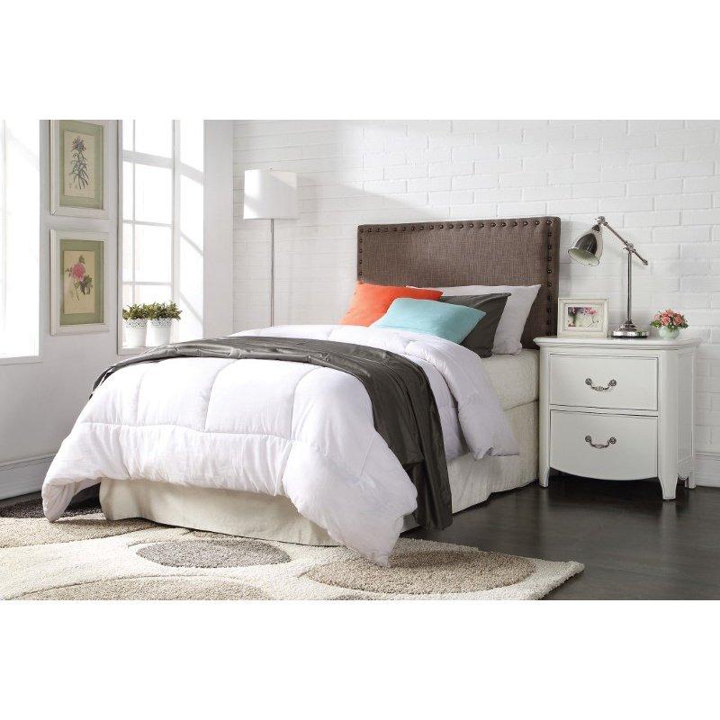 HomeRoots Furniture Sabina Twin Headboard Only, Brown Linen (285332)