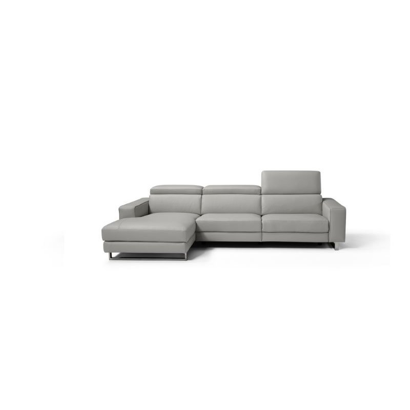 HomeRoots Furniture Sectional 100% Made in Italy Chaise On Left When Facing Light Grey Top Grain Italian Leather (320863)