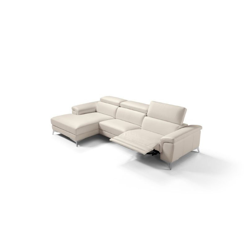 HomeRoots Furniture Sectional 100% Made in Italy Chaise On Left When Facing Taupe Top Grain Leather 1061 L09S (320867)