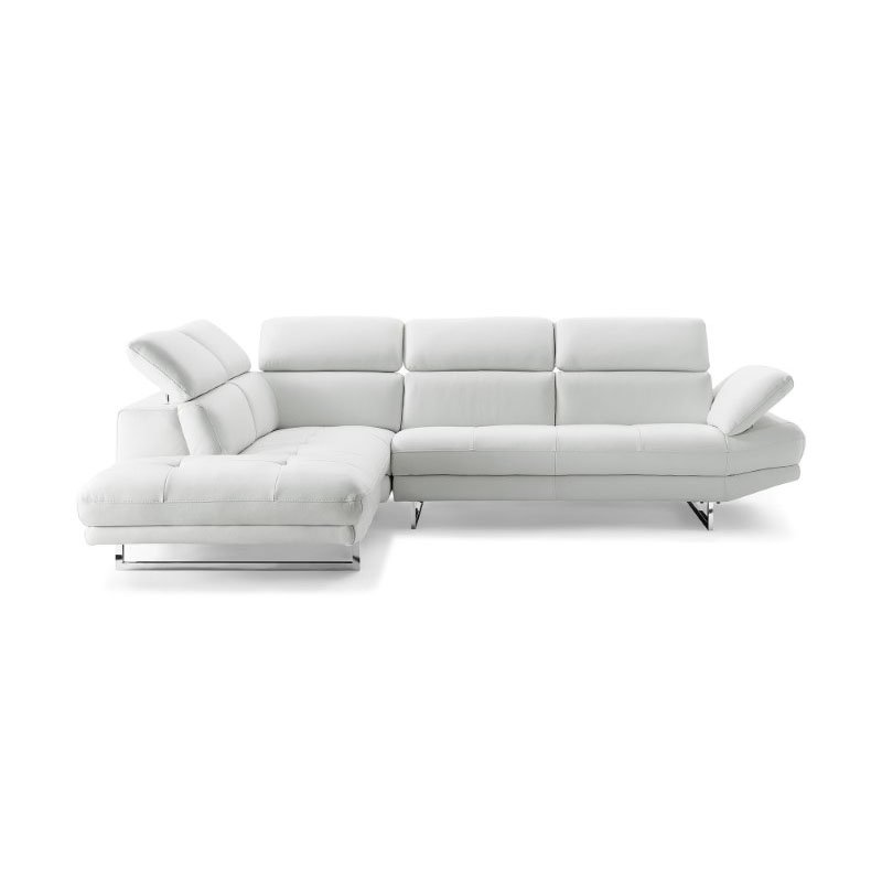 HomeRoots Furniture Sectional, Chaise On Left When Facing, White Top Grain Italian Leather, (320862)