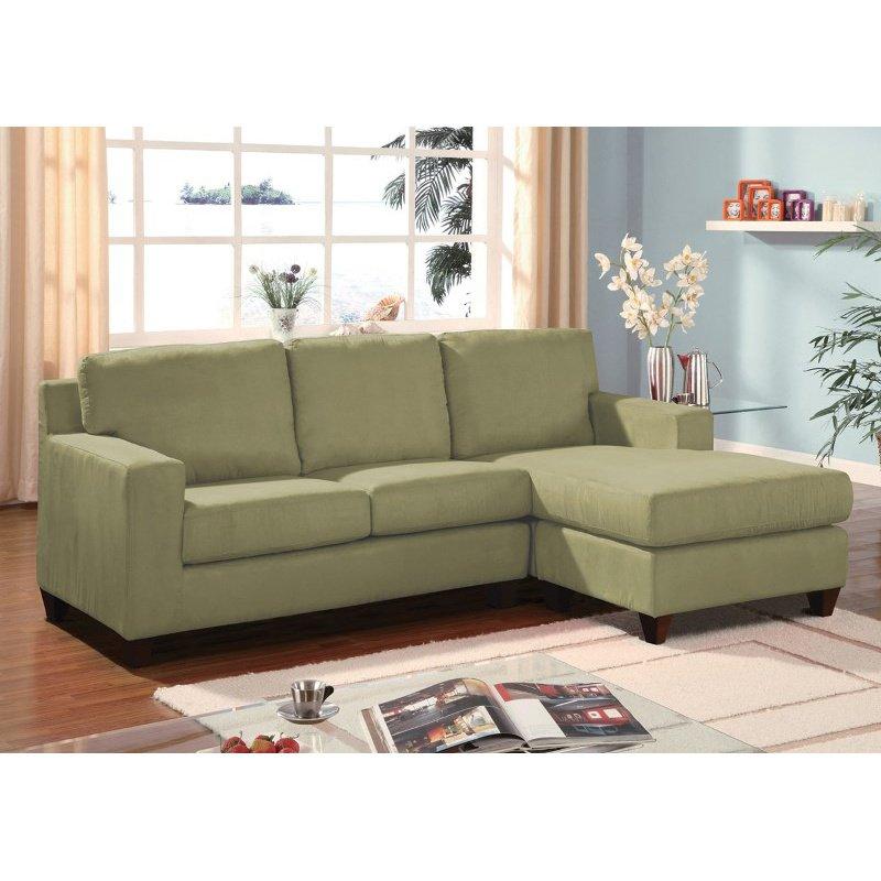 HomeRoots Furniture Sectional Sofa (Reversible Chaise), Sage Microfiber - Mfb, Frame: Hardwood w/Pl Sage Mfb (286498)