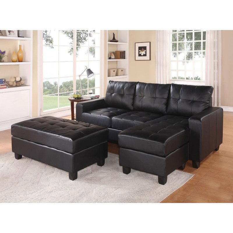 HomeRoots Furniture Sectional Sofa (Reversible Chaise) with Ottoman, Black Bonded Leather Match - Bonded Leather Match Black Blm (285642)
