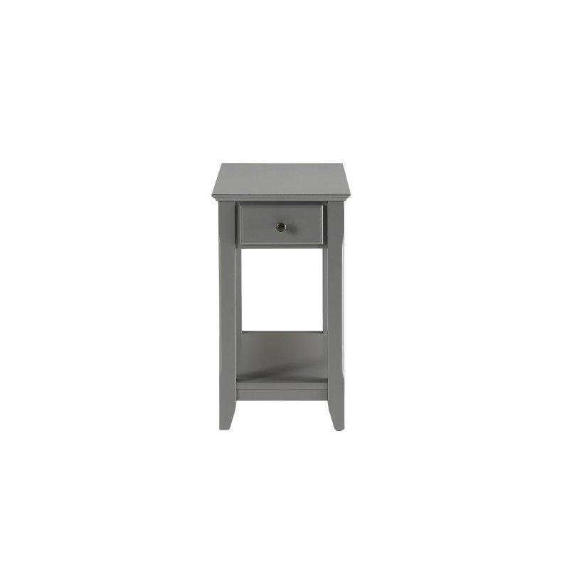 HomeRoots Furniture Side Table in Gray - MDF, Wood Veneer, Solid W Gray (286315)