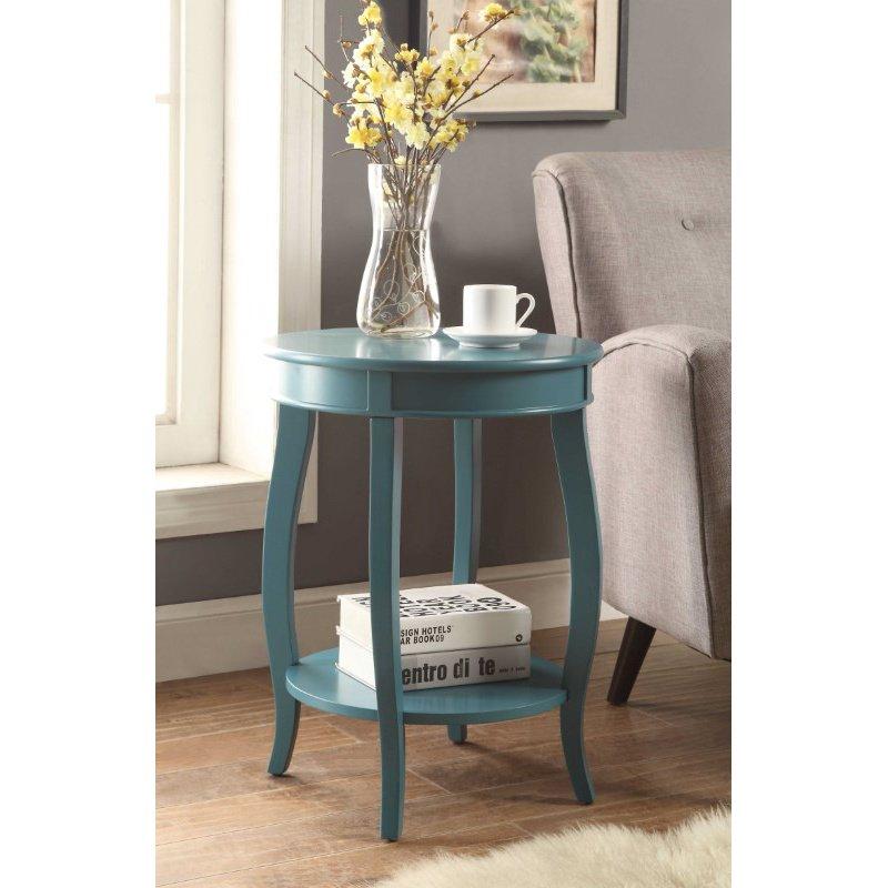 HomeRoots Furniture Side Table in Walnut - MDF, Wood Veneer, Solid Wood Leg (286292)