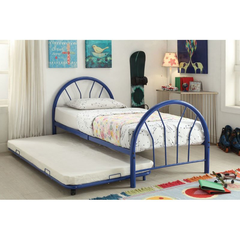 HomeRoots Furniture Silhouette Twin Bed in Blue (286589)