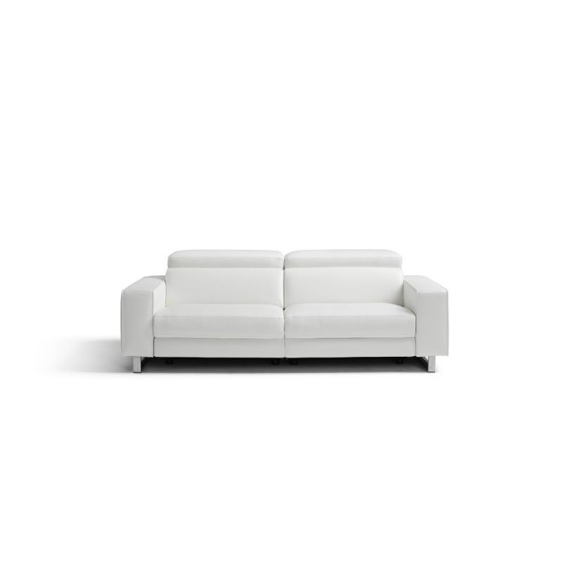 HomeRoots Furniture Sofa 100% Made in Italy White Top Grain Leather 1066 L09S 2 Electric Recliners Adjustable Headrest (320877)