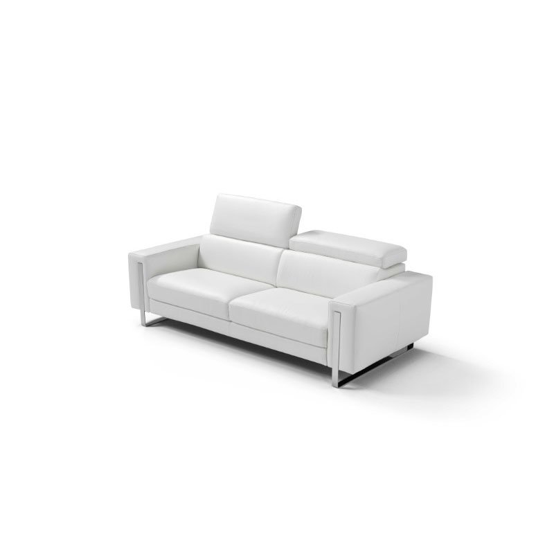 HomeRoots Furniture Sofa 100% Made in Italy White Top Grain Leather 1066 L09S Adjustable Headrest Polished Stainless Steel Leg (320881)