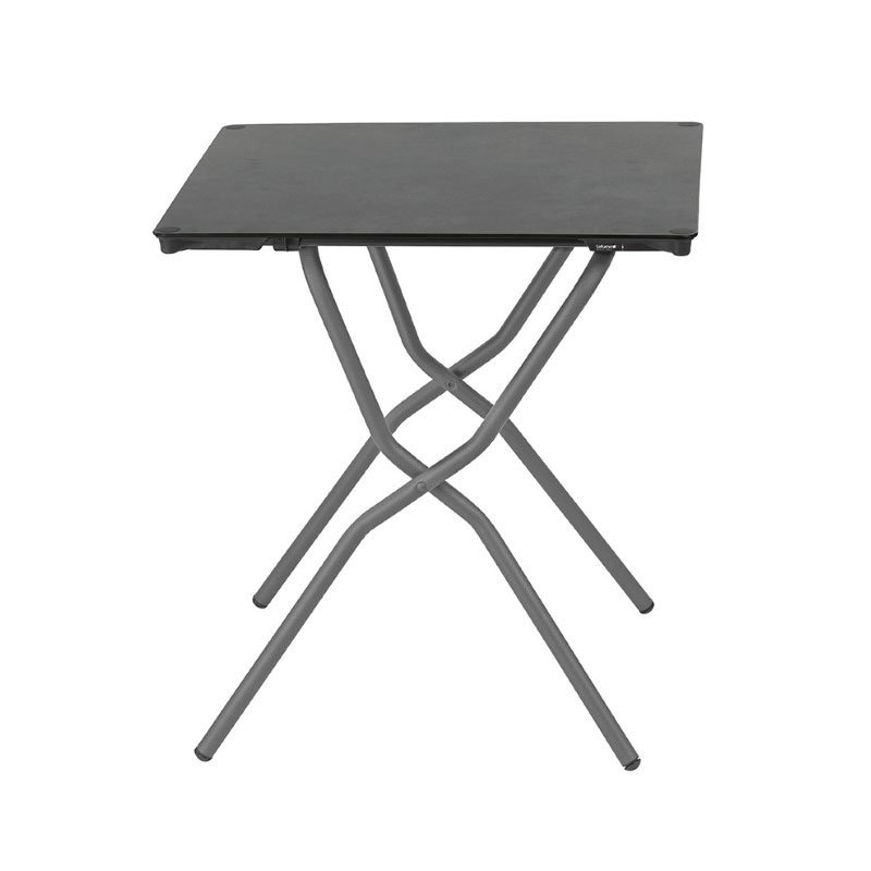 HomeRoots Furniture Square Folding Table - 25.2 X 26.8 in - Basalt Steel Frame - Volcanic Finish Table Top (320645)