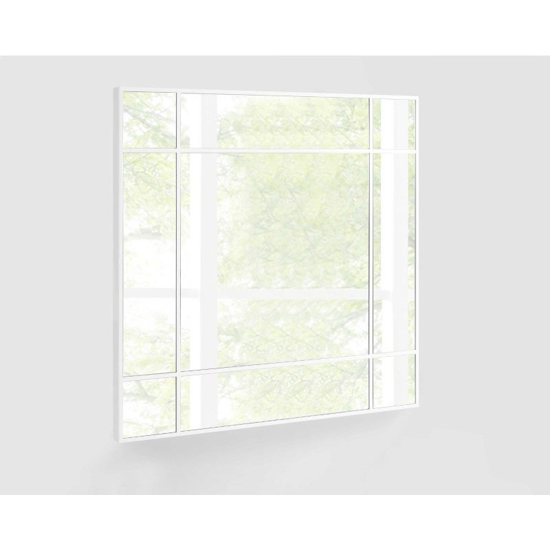 HomeRoots Furniture Square Mirror with High Gloss White Trim.. (320817)