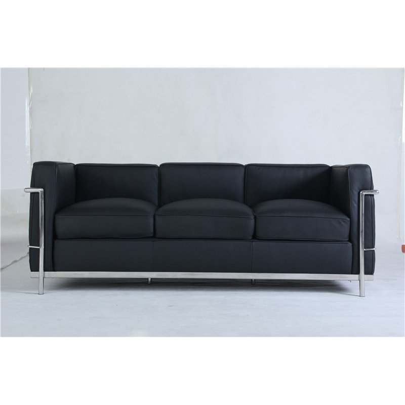 HomeRoots Furniture Style Chaise Lounge Black Lether (284583)