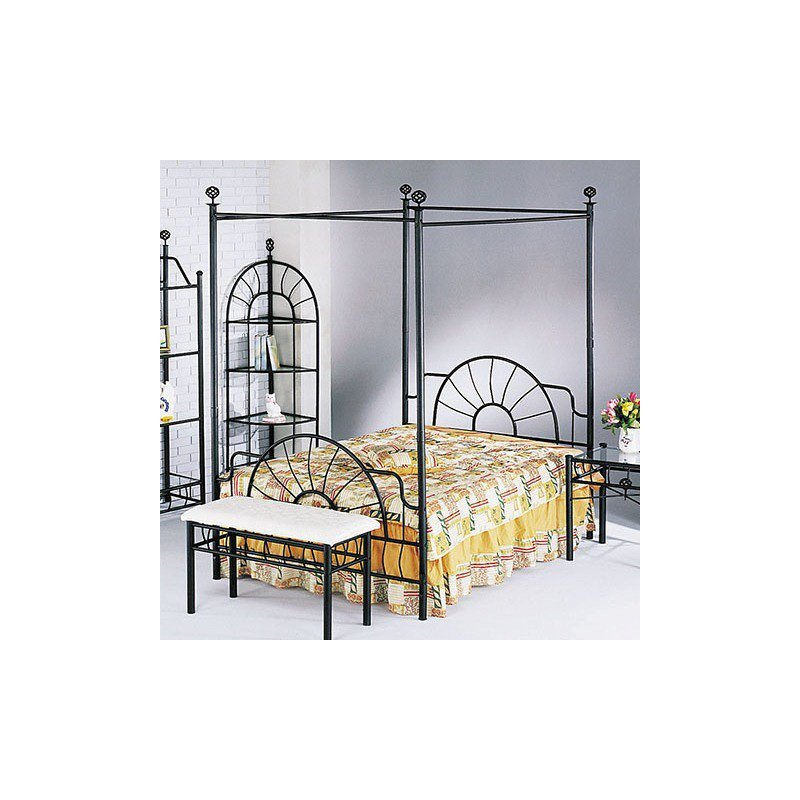 HomeRoots Furniture Sunburst Queen Headboard and Footboard & Canopy (Rail Not Included), Sandy Black (285488)