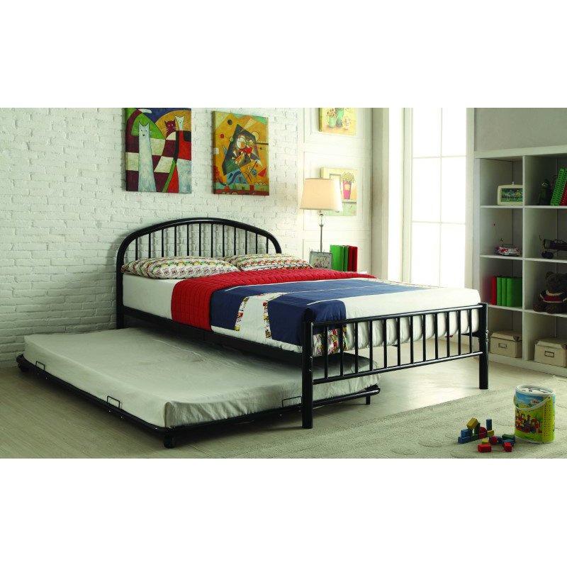HomeRoots Furniture Trundle (Full), Black - Metal Tube Black (286480)