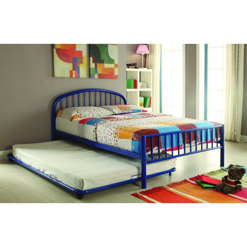 HomeRoots Furniture Trundle (Full), Blue - Metal Tube Blue (286481)