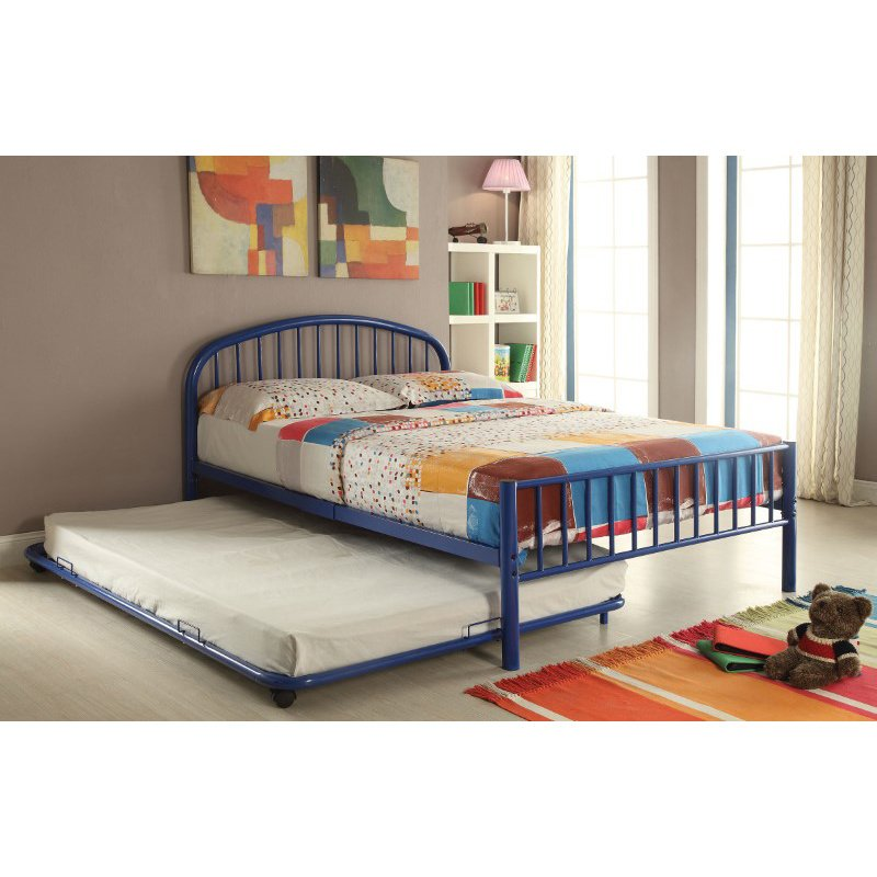 HomeRoots Furniture Trundle (Twin), Blue - Metal Tube Blue (285307)