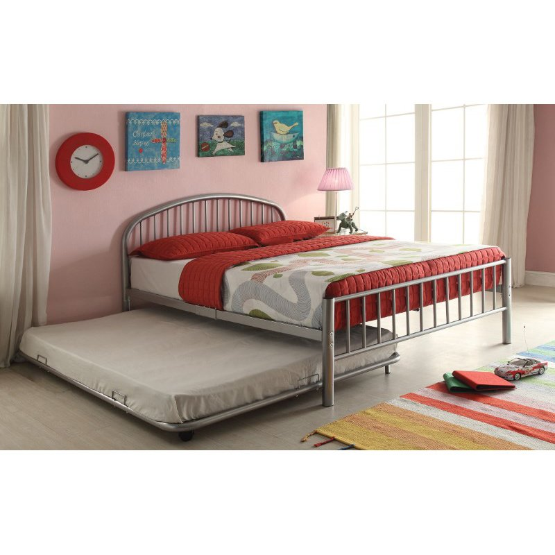 HomeRoots Furniture Trundle (Twin), Silver - Metal Tube Silver (285308)