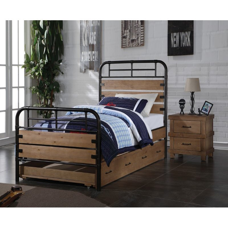 HomeRoots Furniture Twin Bed, Antique Oak - Pine Wood (New Zealand), Antique Oak (285582)