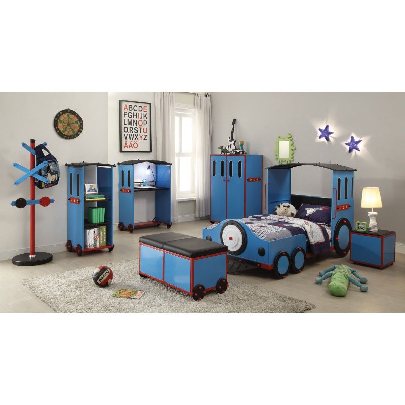 HomeRoots Furniture Twin Bed, Blue/Red & Black Train - Metal, MDF, PVC, 25Kg Fr Blue/Red & Black Train (285620)