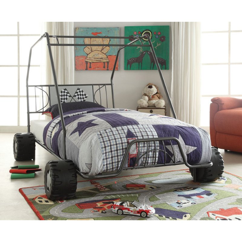 HomeRoots Furniture Twin Bed, Gunmetal Go Kart - Metal Tube (Steel) Gunmetal (285318)