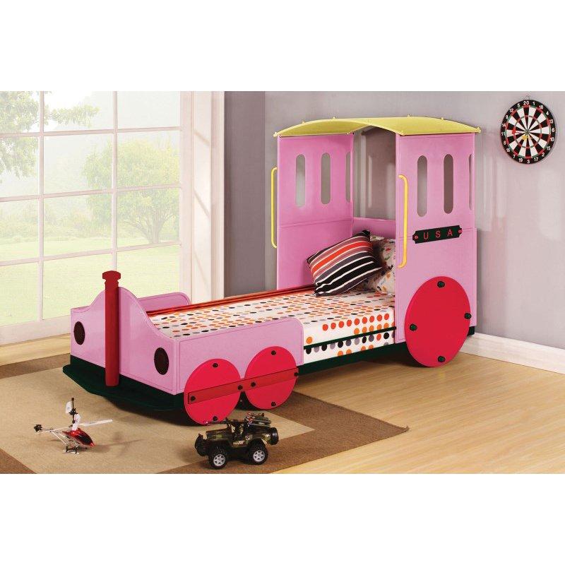 HomeRoots Furniture Twin Bed, Pink Train - Metal, MDF, PU, 25kg FR S Pink Train (285596)
