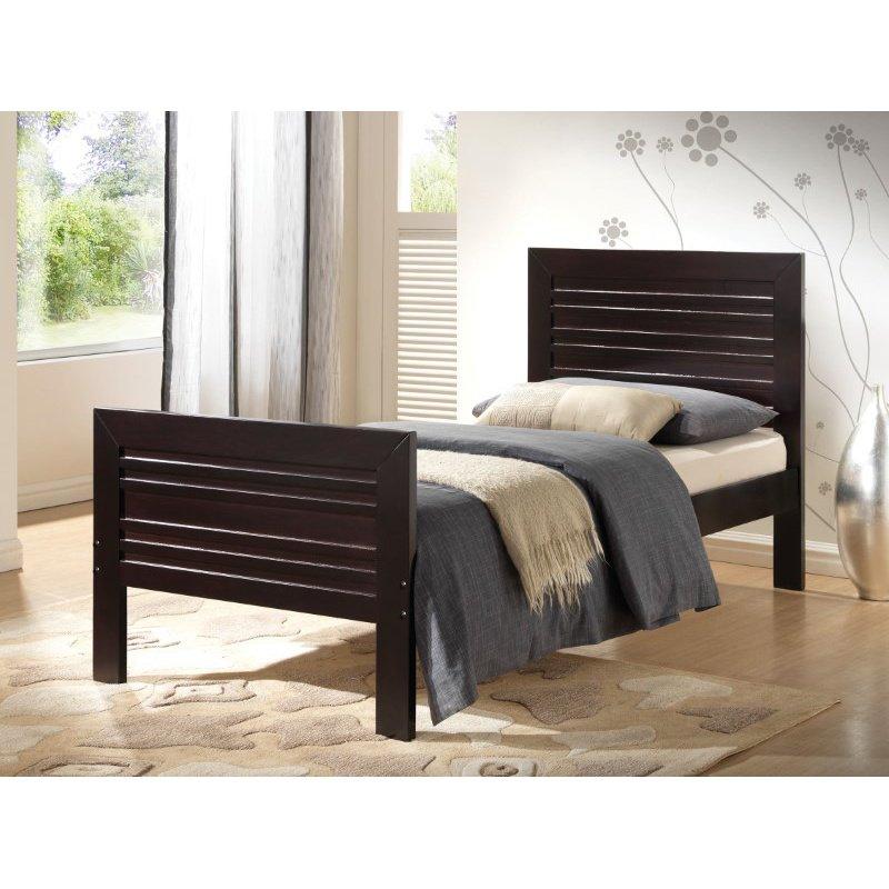 HomeRoots Furniture Twin Bed, Wenge - Poplar Wood, Laminated Ve Wenge (285244)
