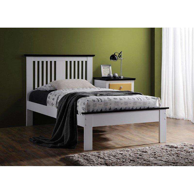 HomeRoots Furniture Twin Bed, White & Black - Poplar Wood White & Black (285297)