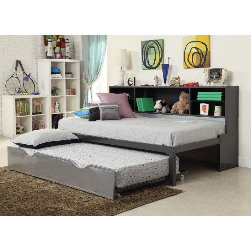 HomeRoots Furniture Twin Bed with Bookcase & Trundle, Black & Silver - Metal Tube, MDF (285598)