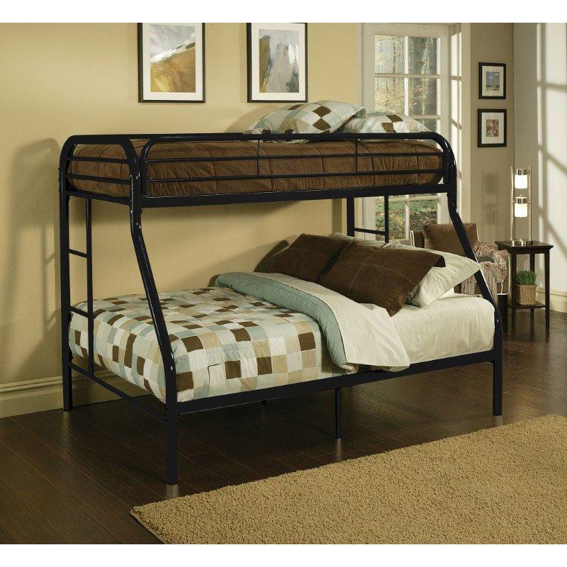 HomeRoots Furniture Twin/Full Bunk Bed, Black - Metal Tube Black (286573)
