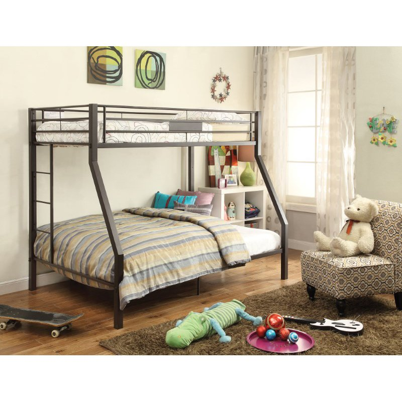 HomeRoots Furniture Twin/Full Bunk Bed, Brown - Metal Tube Brown (285617)