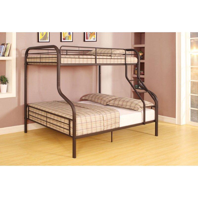 HomeRoots Furniture Twin/Full Bunk Bed, Sandy Black - Metal Tube (Steel) Sandy Black (285317)