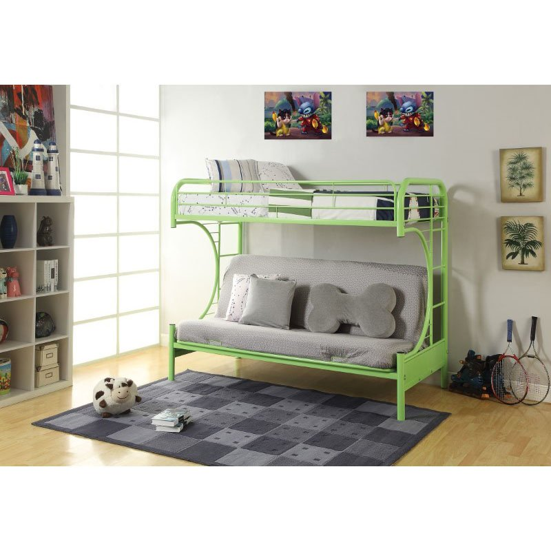 HomeRoots Furniture Twin/Full/Futon Bunk Bed, Green - Metal Tube Green (286585)